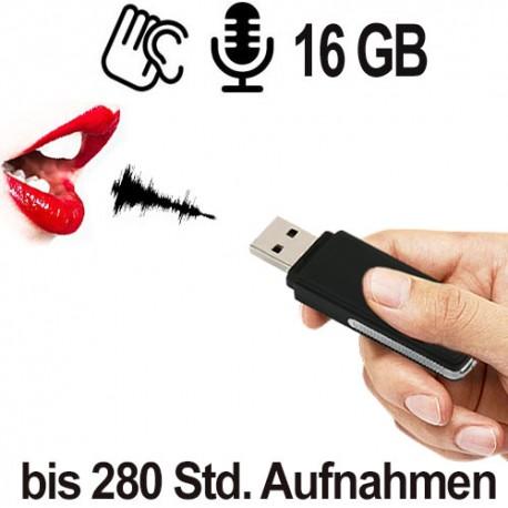 USB-Audiowanze für diskrete Sprachaufzeichnung, bei 16 GB Speicherinhalt Aufnahmen von bis zu 280 Stunden.