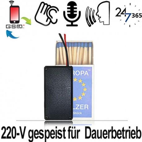GSM-Abhörsender, 220-V für Endlosbetrieb mit eingebautem Sprachrekorder