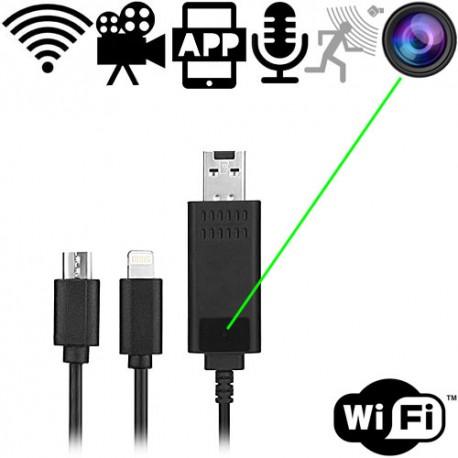 IP-HD SpyCam im Handy-Ladekabel für Android & IOS