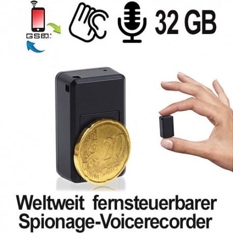 Fernsteuerbarer GSM-Spionagerecorder via SMS-Befehl. Ein Micro Spionage-Voicerecorder der sich über das weltweite GSM-Handynetz