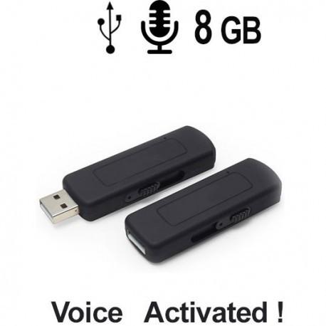 Spionage Voice-Recorder (Audiowanze) getarnt im USB-Stick. Voice-Activated für lückenlose automatische Aufnahmen.